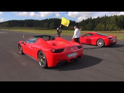 Ferrari 458 Italia vs Audi R8 V10 vs Ferrari 458 Spider!