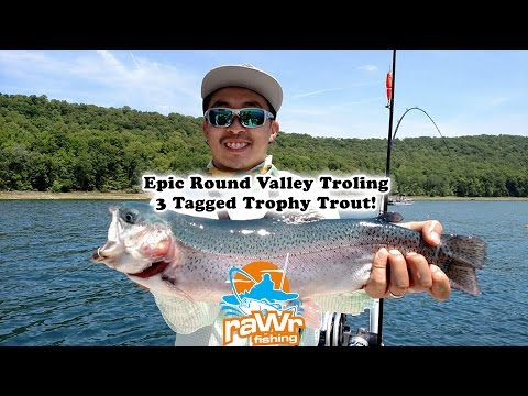 Epic Trout Fishing - 3 Tagged Fish At Round Valley Reservoir Trolling