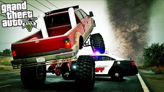 GTA 5 - Evade Ep15 - BIG Monster Truck, Tornadoes, Chases, and Tanks!!
