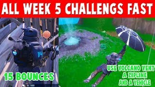 FORTNITE SEASON 8 WEEK 5 CHALLENGES - USE A VOLCANO VENT, A ZIPLINE, AND A VEHICLE - GET 15 BOUNCES
