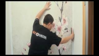 AKI (ECO) Pre-pasted Wallpaper hanging.