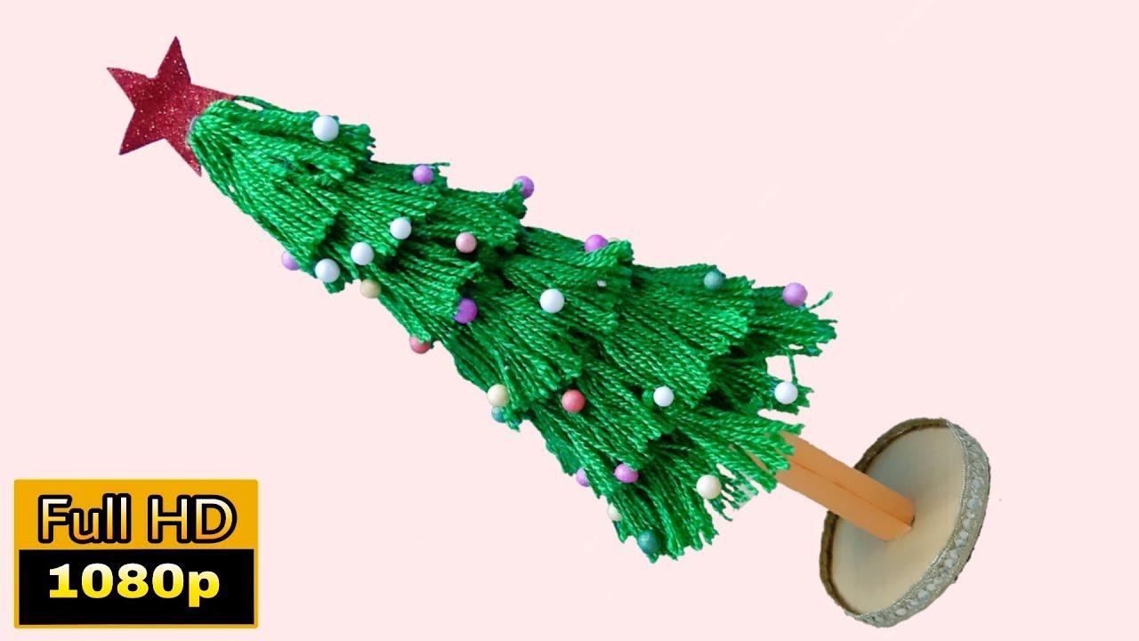 xmas tree making wool   christmas crafts ideas homemade easy   christmas tree kaise banate hain ...