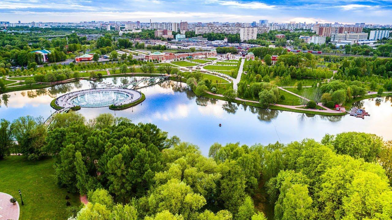 Парк Царицыно город Москва с высоты птичьего полета