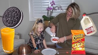 Everleigh eats WEIRD food combinations people LOVE!!! *OREOS AND ORANGE JUICE* NASTY FOOD!!!