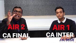 AIR 1 - CA Inter interviewed by AIR 2 - CA Final   Akshay Jain & Aagam Dalal discuss CA Exams Prep
