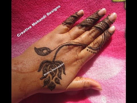 Stylish And Simple Lotus Flower Henna Mehndi Design Tutorial Youtube
