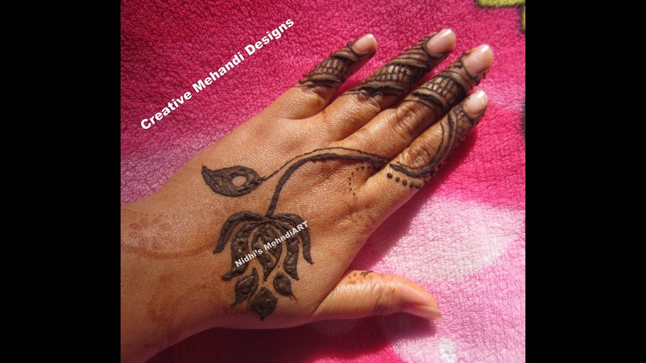 Lotus Flower Henna Designs: Stylish And Simple Lotus Flower Henna Mehndi Design