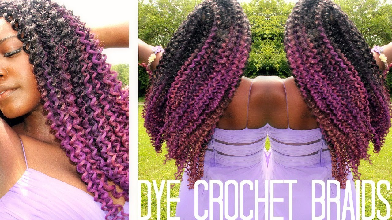 Crochet Braids Purple : How To Dye Synthetic Crochet Braids ? - YouTube