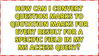 How can I convert question mar…