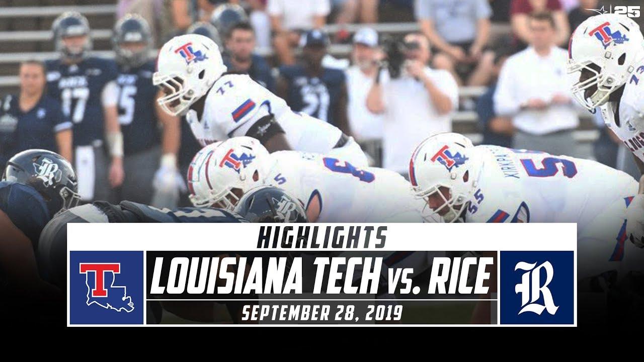 Louisiana Tech Vs Rice Football Highlights 2019 Stadium Youtube