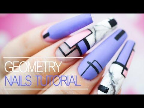 Easy Geometric Gel Nail Design - Step by Step Tutorial thumbnail