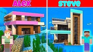 Minecraft Battle: UNDERWATER MODERN HOUSE BUILD CHALLENGE - ALEX vs STEVE