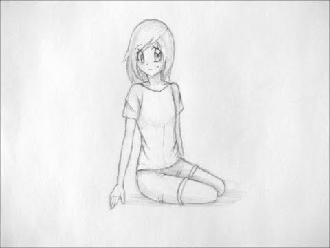 How to draw manga sitting pose youtube