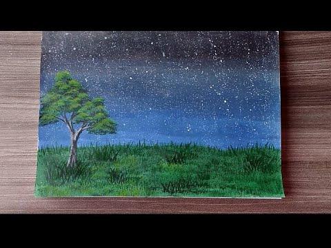 Tehnik melukis pemandangan malam menggunakan cat akrilik