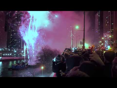 Thumbnail image for 'The Fireworks on Michigan Ave. Happy New Year 2019'