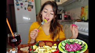MUKBANG КОТЛЕТЫ ПО КИЕВСКИ КАРТОШКА СЕЛЕДКА ПОД ШУБОЙ CHOPS POTATO не ASMR eating show 먹방