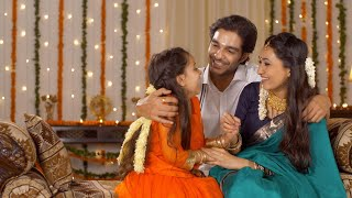 South Indian Family - Attractive parents happily enjoying Diwali holidays with their daughter - family time