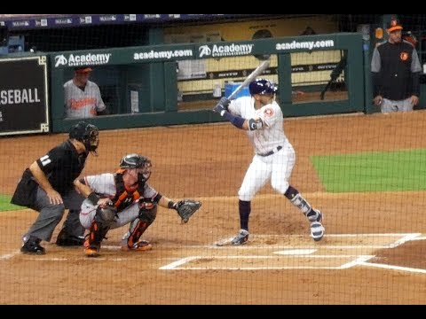 Carlos Correa at bat...inside-the-park Home Run...Astros vs. Orioles...4/3/18