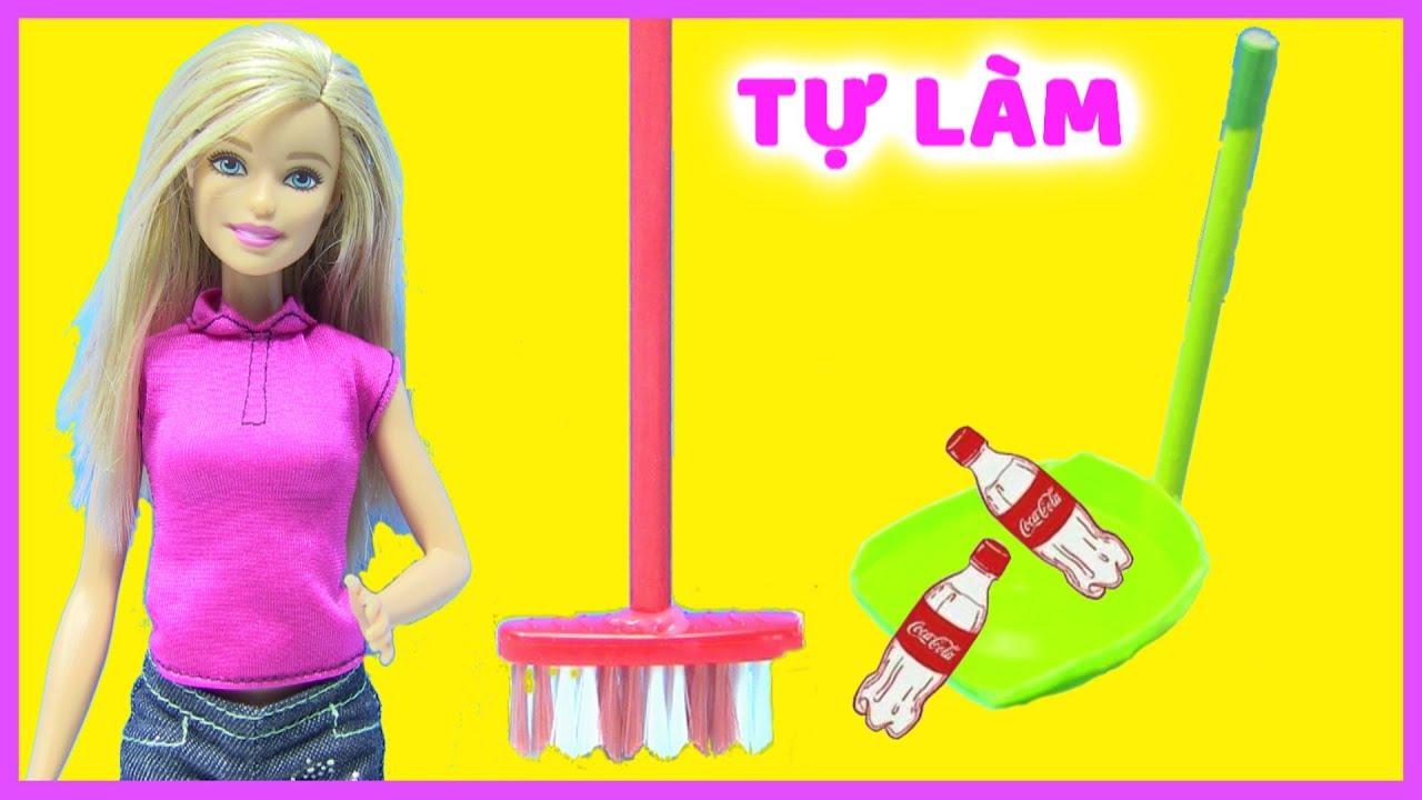 Hướng Dẫn Làm Chổi Quét Nhà Mini- Làm Đồ Hốt Rác Cho Búp Bê – Làm Slime Glitter Kit ( Chị Bí Đỏ)