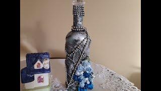 Zdobienie butelki a'la świecznik srebrny'