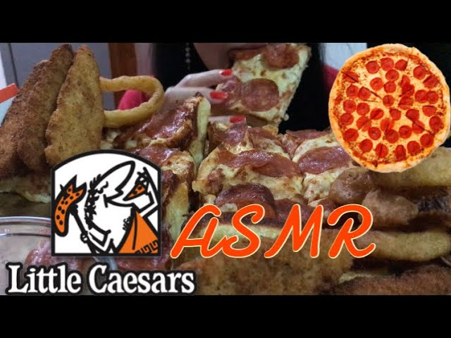 Asmr Pepperoni Pizza Chicken Nuggets Onion Rings Little Caesars Crunchy Crispy Eating Sounds