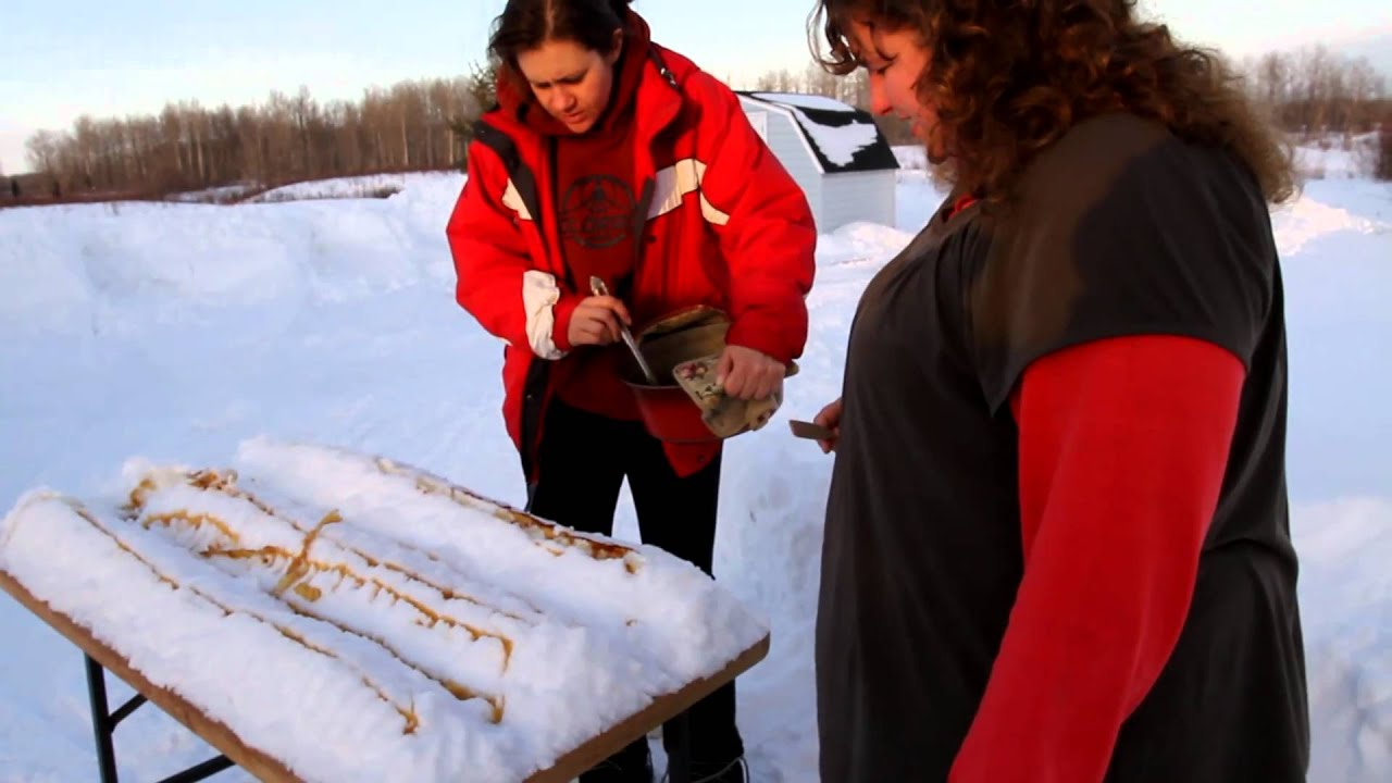 Making maple syrup taffy lollipops or snow candy in Northern Ontario 1 ...