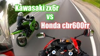 Honda cbr600rr 2008 vs Kawasaki ZX6R 2003, зацеп, мотобудни