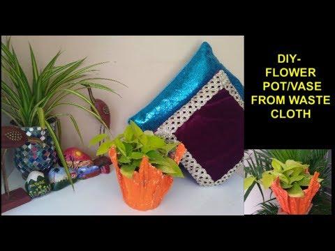 DIY- Make Beautiful clay Pot using old waste cloth/DIY Clay planter