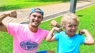 Liova and dad play sports and want to be strong