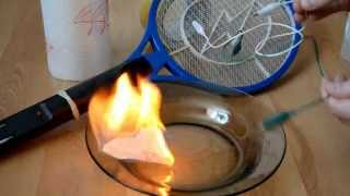 Make a fire with Electric Fly Swatter