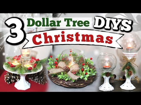 Scented Candles Giveaway | 3 Dollar Tree Christmas DIYS | DIY Dollar Tree Holiday Centerpiece Ideas