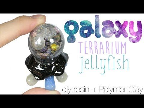 How to DIY Glitter Galaxy Terrarium Dome Jellyfish Resin/Polymer Clay Tutorial