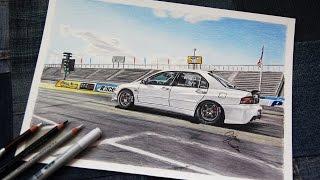 MITSUBISHI EVO 8 Drag Racer #2 | Realistic Car Drawing