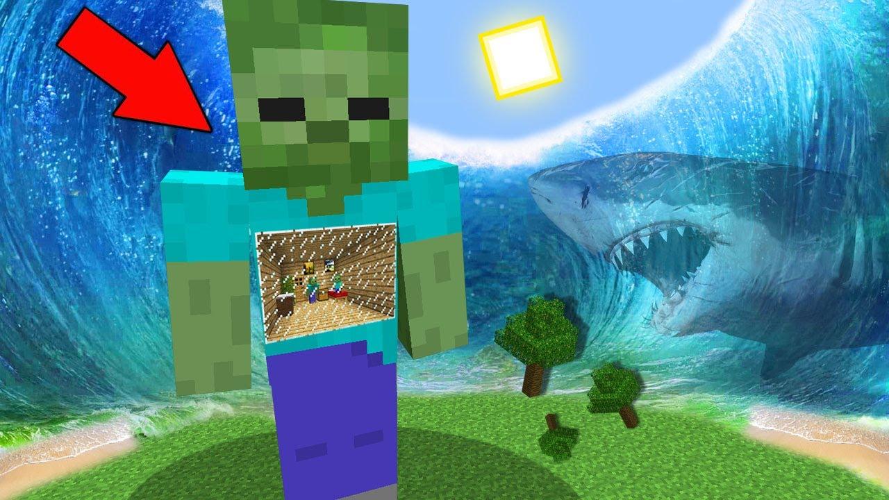 ZOMBİ İÇİNDE EV VS TSUNAMİ 😱 - Minecraft