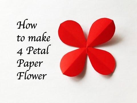 DIY Craft : How To Make 4 Petal Paper Flower : สอนพับดอ�ไม้ 4 �ลีบ�บบสวยๆ