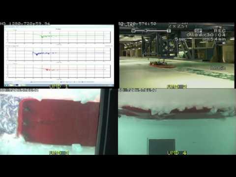 Ice breaking 3-pod Tug torque measurements, ice breaking model test.