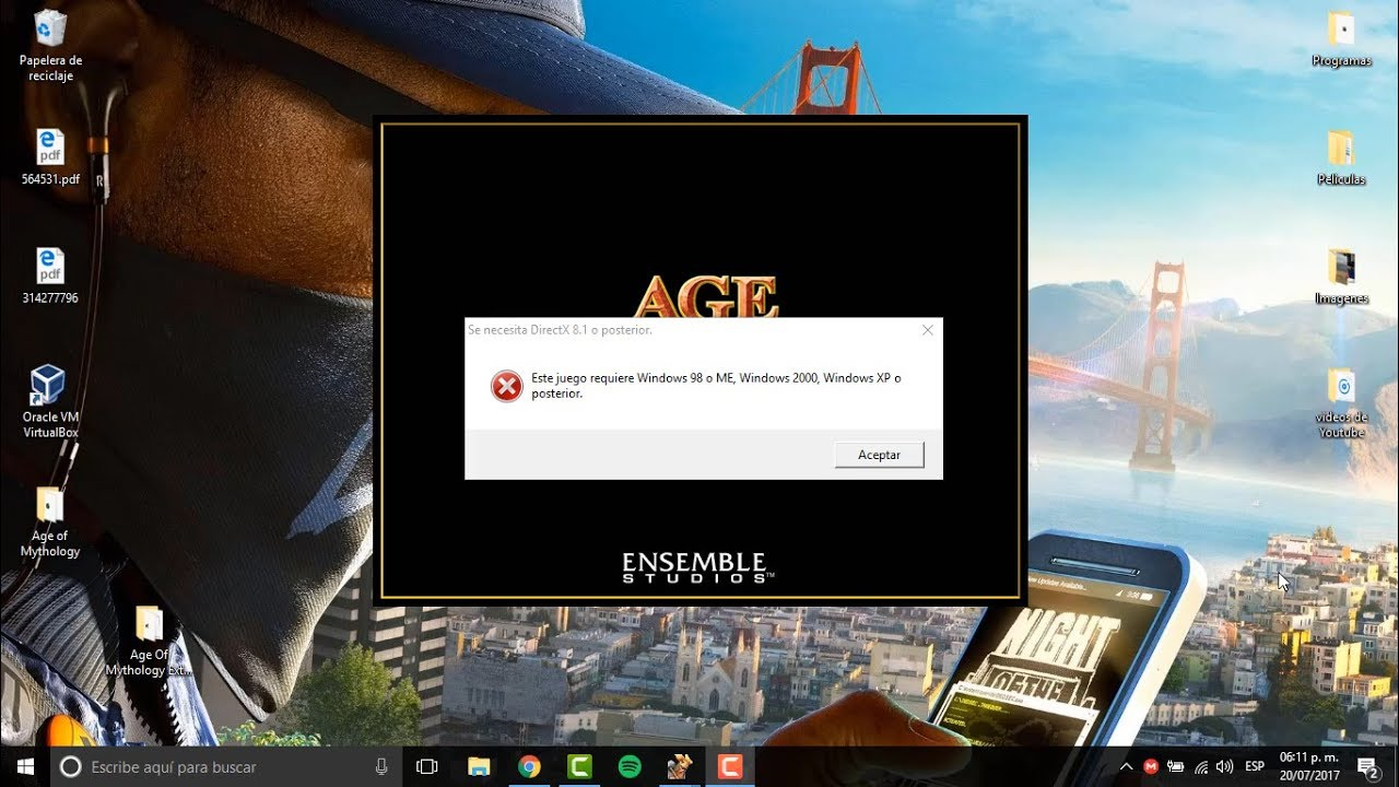 Error Este Juego Requiere Windows 98 O Me En Windows 10 Age Of