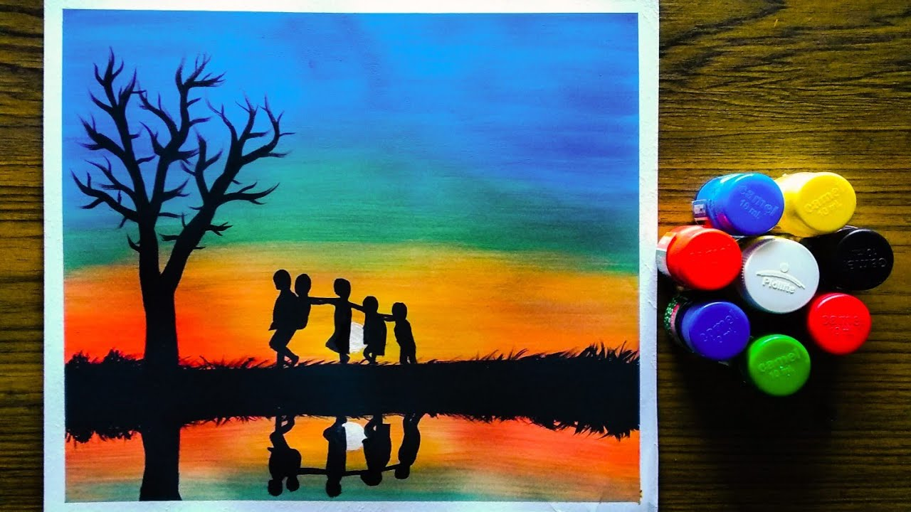 beautiful easy sunset childhood landscape acrylic poster colour painting