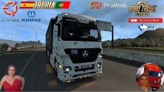 Euro Truck Simulator 2 (1.37)   Mercedes Actros MP3 Reworked v3.2 [Schumi] [1.37] Road to Barcellona Spain Iberian Peninsula DLC Promods v2.46 Krone DLC Trailer by SCS Software FMOD ON and Open Windows Naturalux Graphics and Weather Spring Graphics/Weathe
