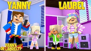 YANNY OR LAUREL?? LITTLE DONNY'S FAMILY FIGHT!! Minecraft Adventure