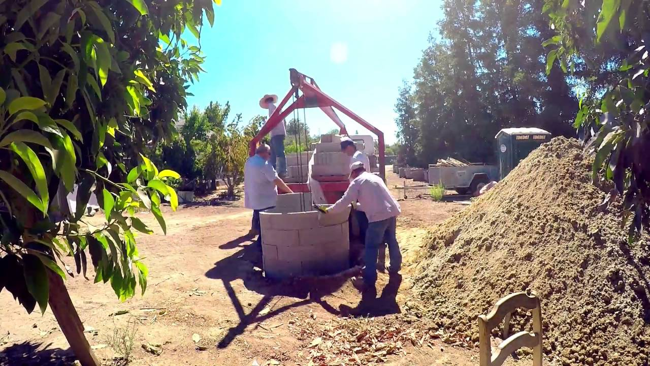Fast forward construction of Brick lined dry well Septic System seepage pit  fresno ca