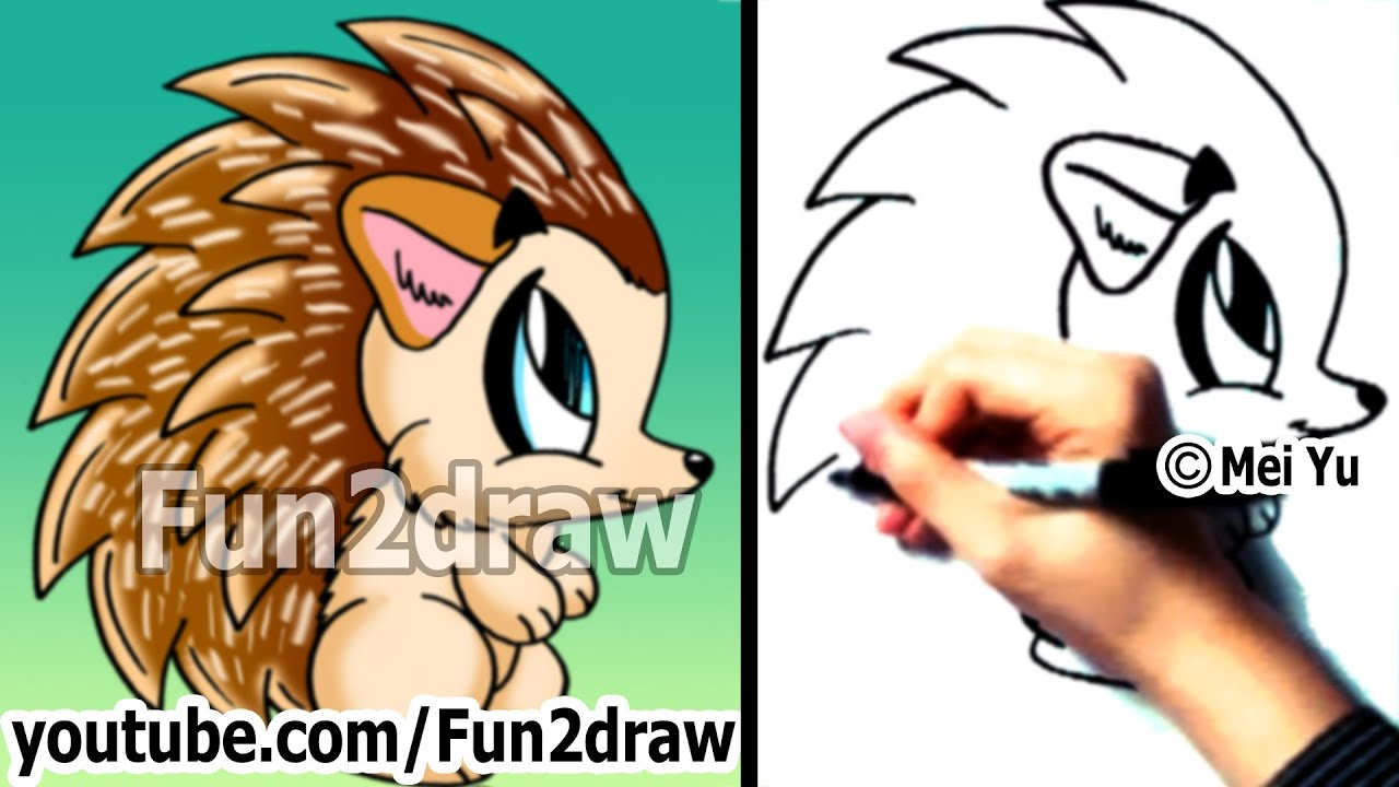 how to draw cartoon animals how to draw a hedgehog easy drawings fun2draw youtube
