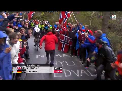 Norwegian police flooring a guy at Bergen cycling world championship 2017