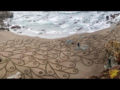 San Francisco sand artist uses beach as canvas