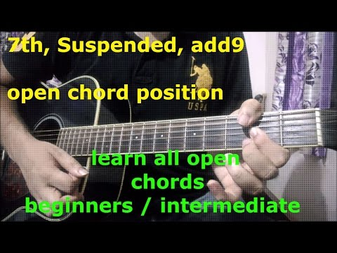 Guitar Open Chords Lesson | 7th Add9 Suspended Open Chord Position | Must Learn Chords