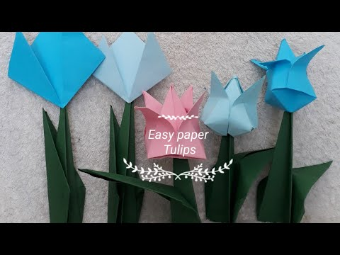 Origami paper tulips l 2D & 3D Paper Tulips l How to make tulip flowers?