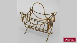 Antique Art Moderne rope design gilt metal magazine rack