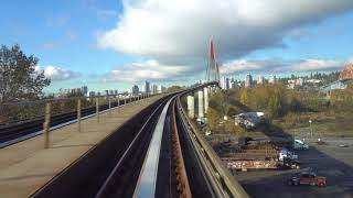 Vancouver SKYTRAIN FULL RIDE: EXPO LINE WESTBOUND END-TO-END From the Front, Plus Extra Angle Shots