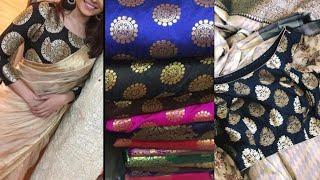 Brocade blouse piece Design ideas/Beautiful blouse designs ideas for plain saree design ideas