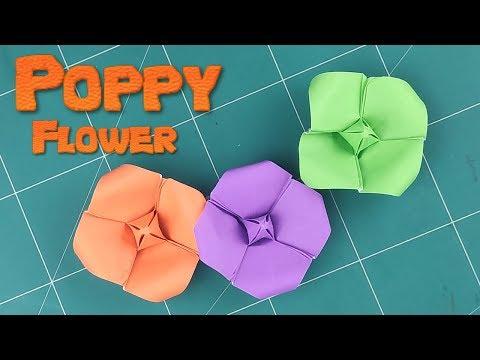 Easy Origami Poppy Flower   How To Make a Simple Flower Tutorials   DIY 3D Flower Craft Ideas